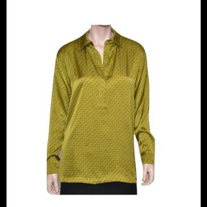 new MICHAEL KORS geometric print green shirt sz 12